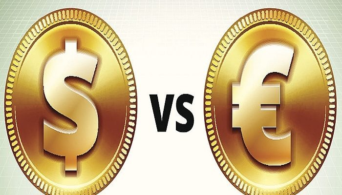 Gold Dollar VS Euro Coin on Grid Background